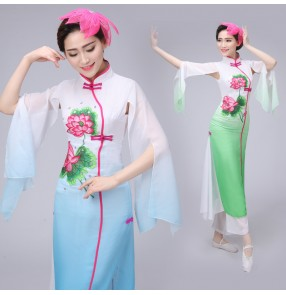 Women's ladies female  blue green gradient  color long sleeves Chinese folk dance costumes traditional ancient  yangko fan dance  costumes dresses set clothes