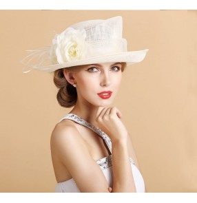 Women's ladies female fashionable flower ivory violet purple large brim luxury sinamay church hats evening wedding party event fedoras hats beach sunhats
