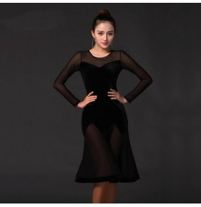 Women's ladies female floral black velvet long sleeves mesh back sexy fashionable professional competition latin ballroom dance dresses samba salsa chacha