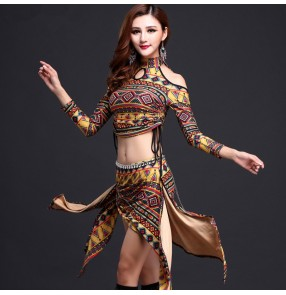 Women's ladies female girls yellow purple floral vintage printed pattern stage performance belly dance costumes belly dance dresses sets long sleeves tops and triangle skirts and no diamond sashes