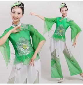 Women's ladies female green gradient color chinese folk dance costumes ancient fan dance yangko dance costumes dresses set
