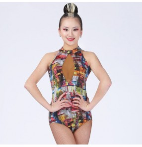 Women's ladies female leopard rainbow printed black leopard sleeveless turtle neck backless competition exercises leotard  samba salsa cha cha latin dance costumes tops jumpsuit bodysuits
