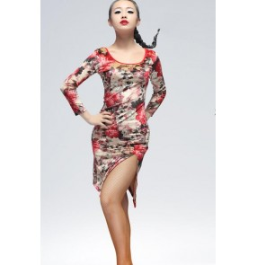 Women's ladies female long sleeves black floral leopard velvet front side split latin dance dresses salsa samba dresses