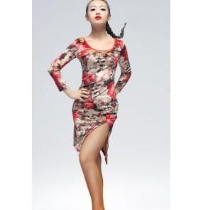 Women's ladies female long sleeves black floral leopard velvet front side split latin dance dresses salsa samba dresses