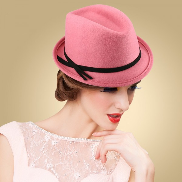 cb633599 Women's ladies female luxury high class 100% wool handmade pink vintage  church hats bucket fedoras with bowknot