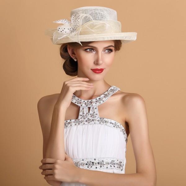 Christmas dress dance - Women S Ladies Female Luxury High Class Fashionable Ivory Large Brim