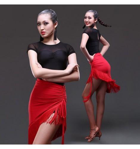 Women's ladies female red black fringe tassel skirt short sleeves tops  senior competition latin dance dresses sets samba salsa cha cha dance top  and skirt