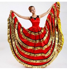 Women's ladies female red black gold patchwork double shoulder sleeveless ruffles big  swing skirt competition exercises flamenco Spanish bull dance dresses costumes 540degree