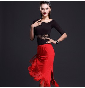 Women's ladies female red black short sleeves irregular hem skirt competition samba salsa cha cha dance dresses sets top and skirt