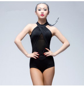 Women's ladies female red black violet sleeveless see through back halter turtle neck sexy fashionable competition practice latin samba salsa cha cha dance tops bodysuit leotard tops catsuit unitard