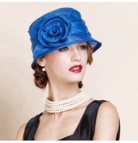 Women's ladies female royal blue red fuchsia sinamay short brim luxury church hats beach sun hats wedding evening  party hats fedoras