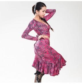 Women's ladies female sexy fuchsia professional long sleeves separate v neck latin samba salsa dance dresses sets top and skirts