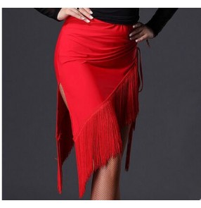 Women's ladies female tassels triangle side split latin dance skirts salsa chacha latin dance skirts M-XXL
