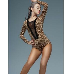 Women's ladies female violet red black leopard deep v see through neckline long sleeves sexy fashion competition latin samba salsa cha cha dance tops catsuit unitard bodysuit leotard tops