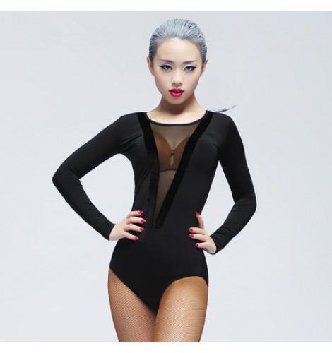Women s ladies female violet red black leopard deep v see through neckline long  sleeves sexy fashion competition latin samba salsa cha cha dance tops ... fd5348d36