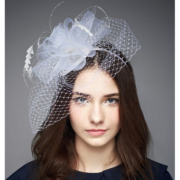 Women s ladies female white sinamay fascinators wedding party bridal veil  church evening party hats pillbox top hats fedoras 2ca4220f8be