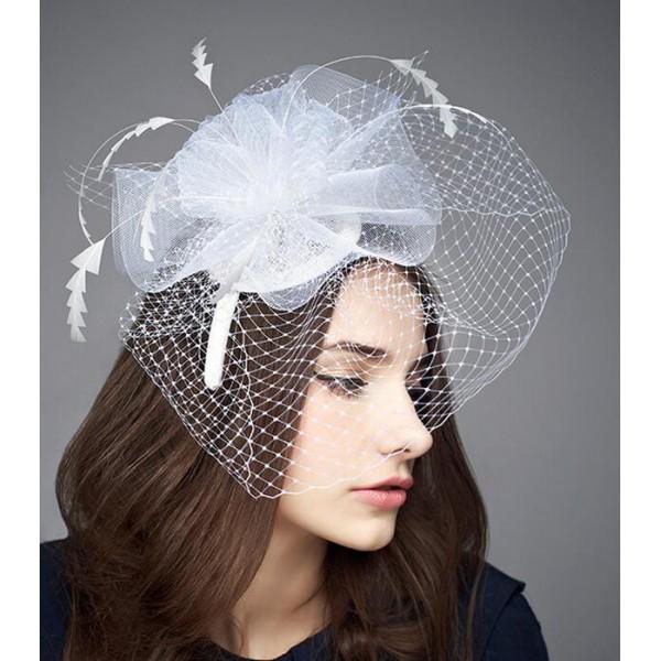 d86a7e1253d42 Women s ladies female white sinamay fascinators wedding party bridal veil  church evening party hats pillbox top hats fedoras
