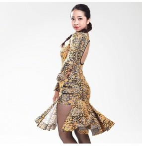 Women's ladies fuchsia yellow leopard printed side split sexy professional cheongsame long sleeves latin dance dresses samba rumba jive rumba salsa cha cha dance dresses