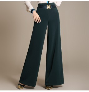 Women's ladies girls  dark red dark green black with sashes decoration wide legs loose latin dance straight pants ballroom dance long pants chacha dance pants trousers