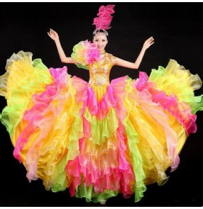 Women's ladies girls fashionable colorful rainbow color folk dance costumes Spanish bull full skirted Dance dresses S-XXL