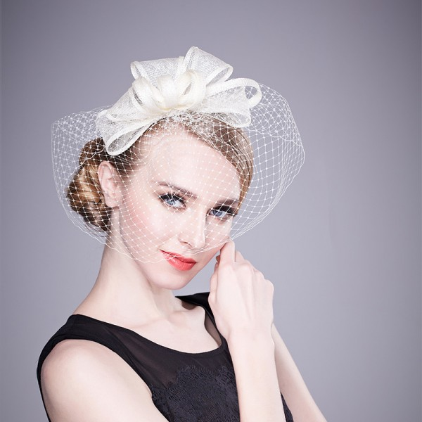 478fe352c7a4e Women s ladies girls female ivory sinamay veil formal pill box hat bridal  wedding party fascinators evening party headdress hats