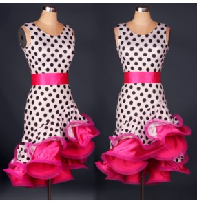 Women's ladies girls polka dot leopard zebra yellow fuchsia red turquoise with sashes sexy competition latin dresses samba rumba chacha salsa chacha dresses