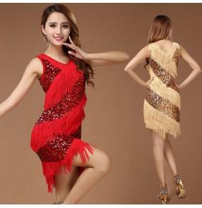 Women's ladies girls sequined fringe paillette  gold red black royal blue latin dresses salsa cha cha samba rumba dance dresses dancewear