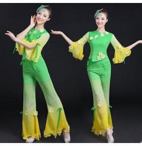 Women's ladies gradient green color flower half sleeves folk dance costumes modern dance stage performance wear tops and pants