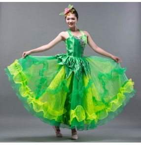 Women's ladies green folk dance costumes Spanish folk  bull dance dresses square dance stage performance chorus dresses