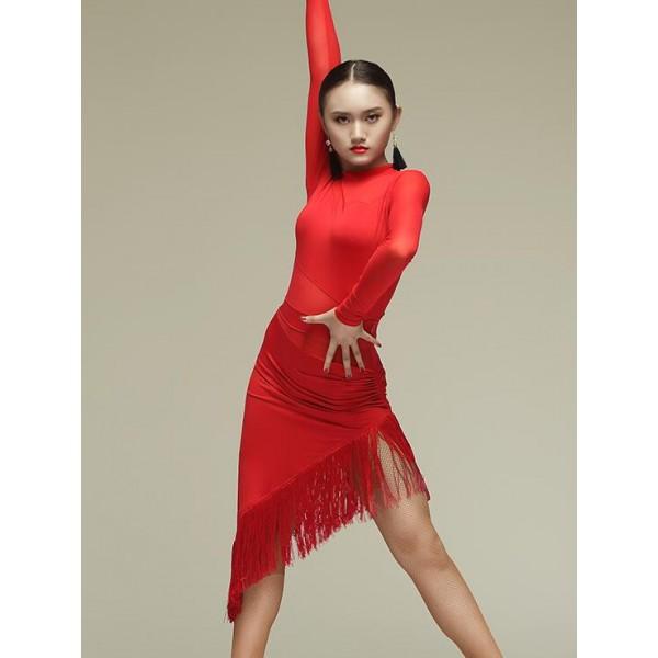 fc6a65f14 Women's ladies long sleeves red black white polka dot tassels latin dance  dresses samba dresses