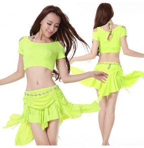 Women's ladies mint violet neon green fuchsia sexy competition belly dance costumes set exposure top short sleeves and skirt with diamond sashes