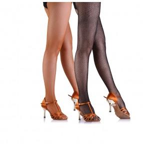 Women's ladies professional high elasticity  female fishnet latin ballroom dance socks pantyhose pants leggings