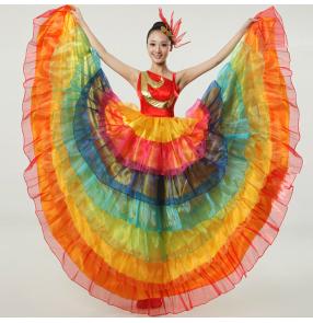 Women's ladies rainbow modern dance cos play spanish bull dance dresses performance stage opening dance dresses