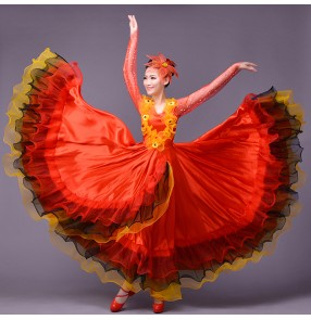Women's ladies red green Chinese folk dance costumes Spanish bull folk dance dresses opening dance stage performance clothes 540 degree