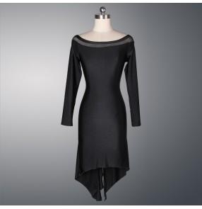 Women;'s ladies sexy black long sleeves   professional exercises Latin dance dresses samba dresses