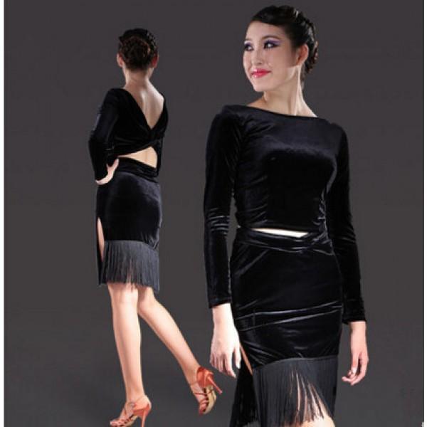 609aa4b4e6a1c Women's ladies violet black latin dance dresses salsa dress samba dress set  top and skirt