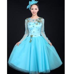 Women's ladies violet blue embroidery long mesh sleeves modern dance dresses Chinese folk dance dresses