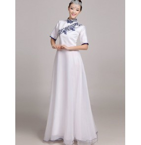 Women's ladies white and blue chinese folk dance costumes cheongsam traditional dance clothing dance wear  dresses S-4XL
