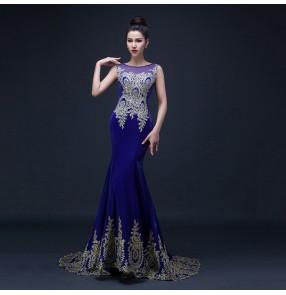 Women's lady  diamond embroidery appliques royal blue mermaid evening dress wedding party bridal dress