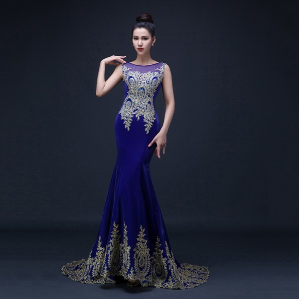 Womens Lady Diamond Embroidery Appliques Royal Blue Mermaid Evening Dress Wedding Party Bridal
