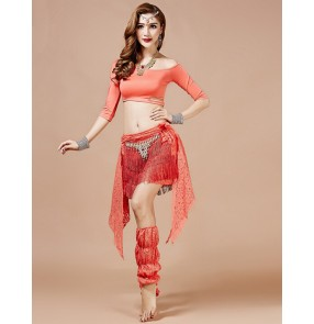 Women's lady female inclined shoulder belly dance dress costumes top and skirts