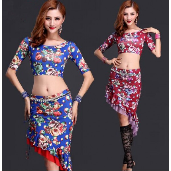 9176d6b46 Women's lady floral printed sexy belly dance costumes dresses set top and  skirt