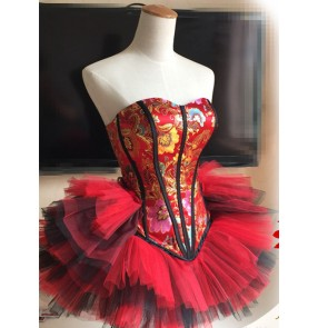 Women's lady girls  red floral corset wrapped chest top organza tutu  skirt jazz singer dj ds dance costumes performance stage dress clothes