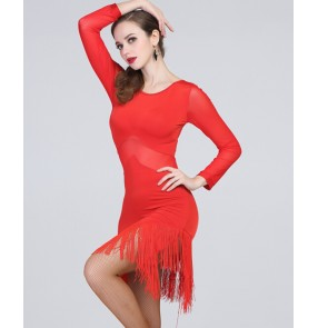 Women's lady girls sexy back red long sleeves fringe latin dance dresses samba rumba chacha dance dress