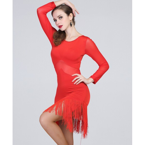 06be5a44928a Women s lady girls sexy back red long sleeves fringe latin dance ...