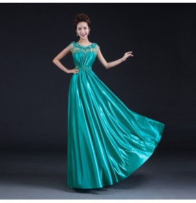 Women's lady lace A-line beaded double shoulder turquoise wine red evening dress bridal wedding party dress