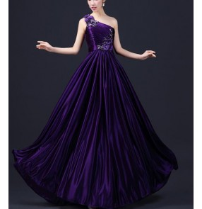 Women's lady one shoulder appliques satin fabric A-line purple turquoise royal blue  evening dress bridal wedding party dress