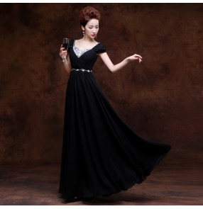 Women's lady royal blue red black diamond boat neck short sleeves A-line chiffon long length Evening dress Wedding party bridal dresses