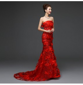 Women's lady's red embroidery appliques rose flower off shoulder with trail mermaid long evening dress bridal wedding party dress