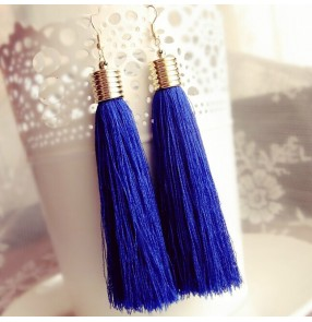 Women's Latin ballroom dancing long tassel earrings one pair